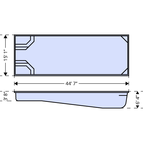 Luxor Shallow dimensions