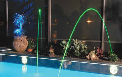 Magic streams with lights and wall spring