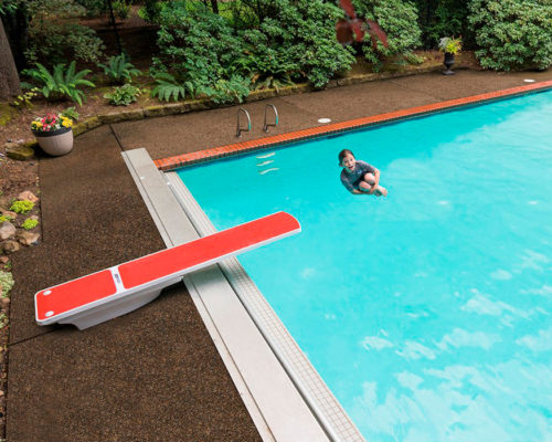 TrueTread Diving Board red with boy cannon ball